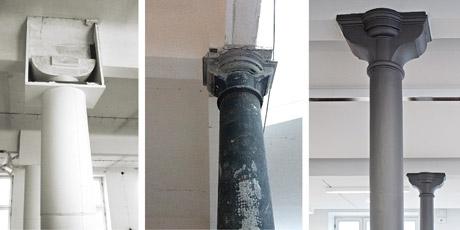 Die alten Stützen wurden wieder freigelegt und mit einem Brandschutzanstrich versehen