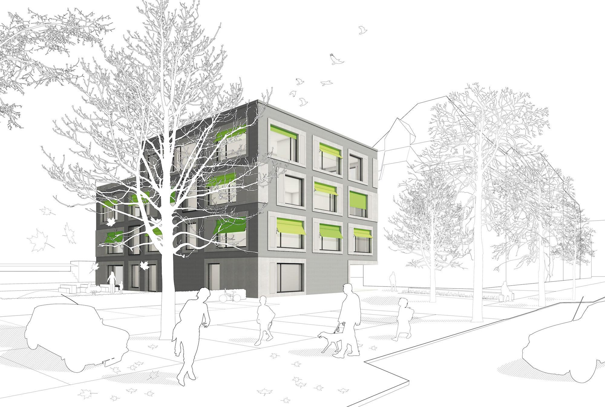 SAZ Betreuungsgebäude Schulanlage Ämtler in Zürich (CH) | Visualisierung: Stephan Bosse