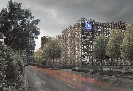 PCK Fassadengestaltung Parkhaus Coesfelder Kreuz, Münster | Visualisierung: Stephan Bosse