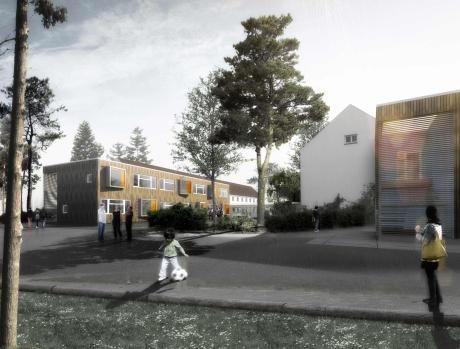 Jeder der drei Flügel der Schule wird durch einen Anbau erweitert