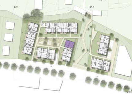 Lageplan mit Grundrissen und Gemeinschaftsraum